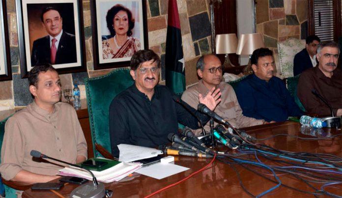 کراچی:وزیراعلیٰ سندھ مراد علی شاہ پریس کانفرنس کر رہے ہیں