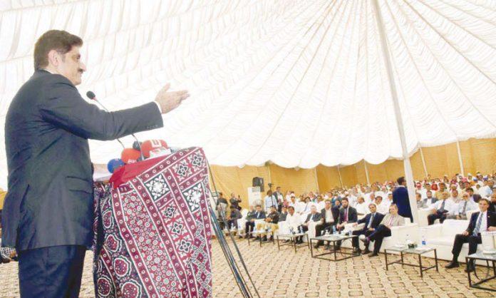 کراچی: وزیراعلیٰ سندھ مراد علی شاہ دنبہ گوٹھ میںسیکنڈری اسکول کی افتتاحی تقریب سے خطاب کررہے ہیں