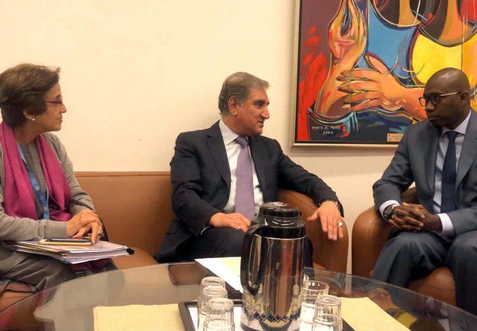جنیوا: وزیرخارجہ شاہ محمود قریشی اقوام متحدہ کی ہائی کمشنر برائے انسانی حقوق میچل بشلٹ سے ملاقا ت کررہے ہیں