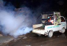حیدرآباد:ـکنٹونمنٹ بورڈ کا عملہ انسداد ڈینگی مہم کے دوران اسپرے کررہاہے