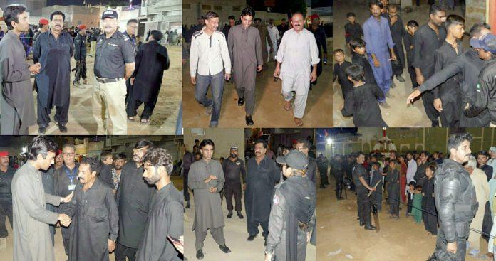 کوٹری : ایس ایس پی جامشورو توقیر نعیم جلوس کے انتظامات کا جائزہ اور عزاداروں سے ملاقات کررہے ہیں