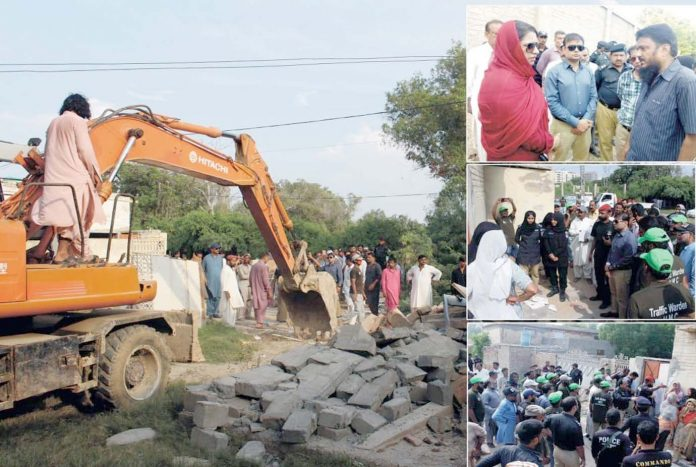 حیدرآباد،انسداد تجاوزات کا عملہ پاگل خانے کے اطراف کارروائی کررہا ہے