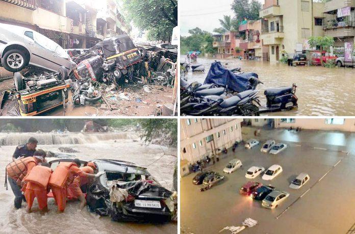 بھارتی شہر پونے اور دیگر علاقوں میں مسلسل بارش کے بعد کئی علاقے زیر آب آ گئے' باد و باراں سے درخت جڑ سے اکھڑ گئے' کئی گاڑیاں تباہ