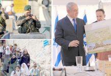 مقبوضہ بیت المقدس: اسرائیلی وزیراعظم بنیامین نیتن یاہو مغربی کنارے میں نئی یہودی بستی کا نقشہ دکھا رہے ہیں' قابض فوج نے ناکابندی کررکھی ہے