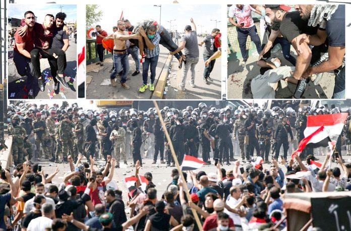 بغداد: مظاہرین حکومت مخالف احتجاج کے دوران سیکورٹی فورسز کے سامنے سینہ تان کر کھڑے ہیں' زخمیوں کو اسپتال منتقل کیا جارہا ہے