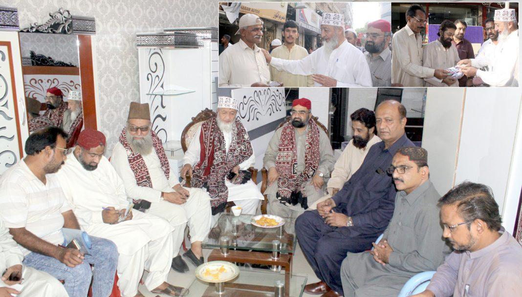 حیدرآباد: امیر جماعت اسلامی سندھ محمد حسین محنتی، کشمیر مارچ کے سلسلے میں تاجر رہنمائوں سے ملاقات کررہے ہیں، عبدالوحید قریشی حافظ طاہر مجید، مجاہد چنا اور ظہیر الدین شیخ بھی موجود ہیں