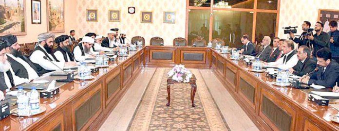 اسلام آباد: شاہ محمود قریشی وزارت خارجہ میں ملا عبدالغنی برادر کی سربراہی میں افغان طالبان کے وفد سے بات چیت کررہے ہیں