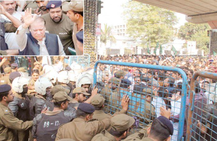 لاہور: نوازشریف کی احتساب عدالت پیشی پر کارکنان جمع ہیں' ہاتھ ہلا کر کارکنان کے نعروں کا جواب دے رہے ہیں
