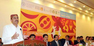 حیدرآباد: صوبائی وزیر زراعت اسماعیل راہو عالمی یوم خوراک پر سیمینار سے خطاب کررہے ہیں