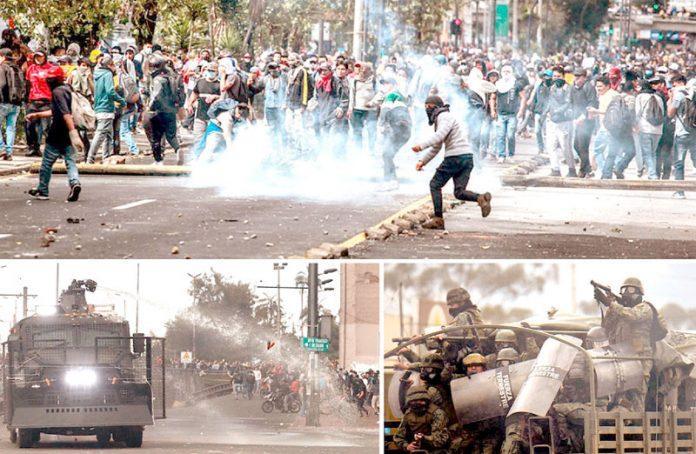 ایکواڈور: حکومت مخالف احتجاج کے دوران پولیس مظاہرین کے خلاف طاقت کا بے دریغ استعمال کررہی ہے