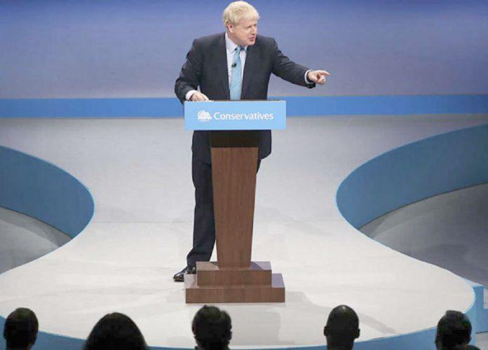 لندن: برطانوی وزیراعظم بورس جانسن پارٹی اجلاس سے خطاب کررہے ہیں