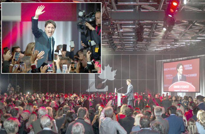 اوٹاوا: کینیڈین وزیراعظم انتخابات میں فتح کے بعد حامیوں سے خطاب کررہے اور جشن منارہے ہیں