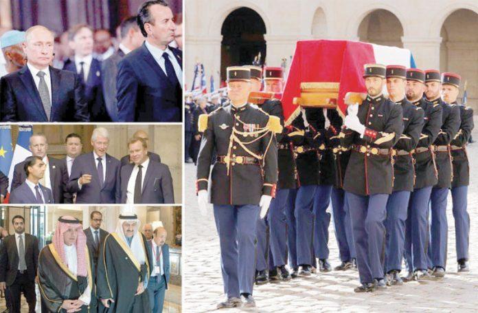 پیرس: سابق صدر ژاک شراک کی آخری رسومات میں مختلف ممالک کے رہنما اور اعلیٰ عہدے دار شریک ہیں