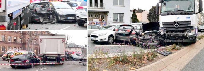 لمبرگ (جرمنی): ٹرک گاڑیوں کو کچلتا ہوا فٹ پاتھ پر چڑھ گیا' پولیس نے جائے وقوع کو سیل کردیا ہے