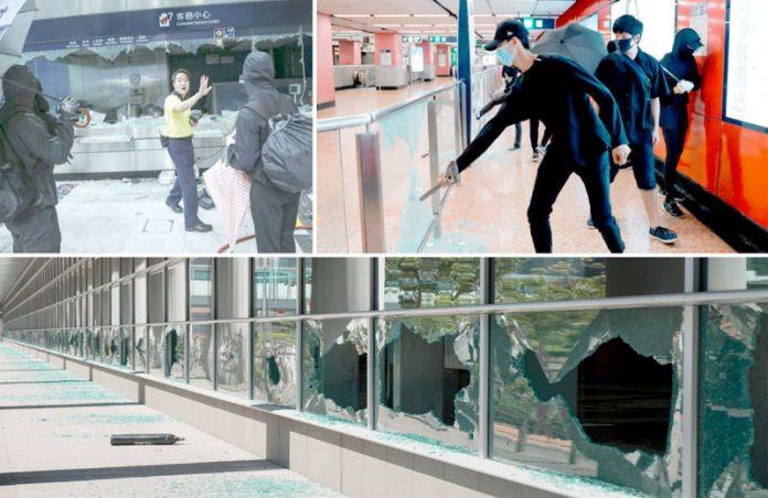 ہانگ کانگ: حکومت مخالف احتجاج کے دوران مشتعل نوجوان میٹرو اسٹیشنوں کو نقصان پہنچا رہے ہیں