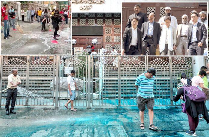 ہانگ کانگ: متاثرہ مسجد کی صفائی کی جارہی ہے' حکومتی سربراہ کیری لام انتظامیہ سے ملاقات کررہی ہیں