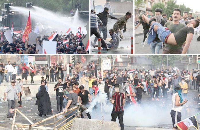 عراق: پولیس اور فوج کی فائرنگ سے زخمی ہونے والے مظاہرین کو اسپتال منتقل کیا جارہا ہے