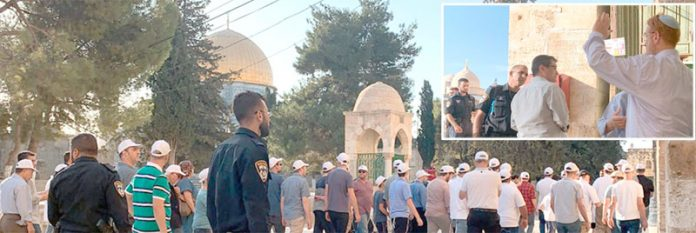 مقبوضہ بیت المقدس: اسرائیلی وزیر زراعت یوری ارئیل اور انتہاپسند مذہبی رہنما یہودا گلیک کی قیادت میں درجنوں آباد کار مسجد اقصیٰ میں داخل ہورہے ہیں