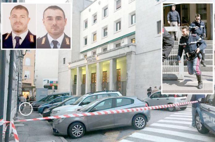 اٹلی: فائرنگ کے بعد جائے وقوع کو سیل کرکے کارروائی کی جارہی ہے' چھوٹی تصاویر (بائیں) ہلاک ہونے والے پولیس اہل کاروں کی ہیں