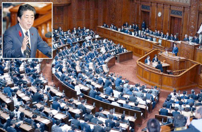 ٹوکیو: جاپانی وزیراعظم شنزوآبے پارلیمان کے افتتاحی اجلاس سے خطاب کررہے ہیں