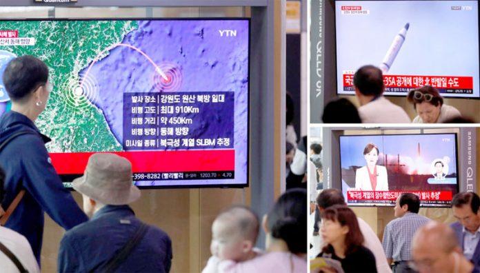 سیئول: ہمسایہ ملک شمالی کوریا کے نئے میزائل تجربے سے متعلق خبر عوامی مقامات پر لگی ٹی وی اسکرینوں پر دکھائی جارہی ہے