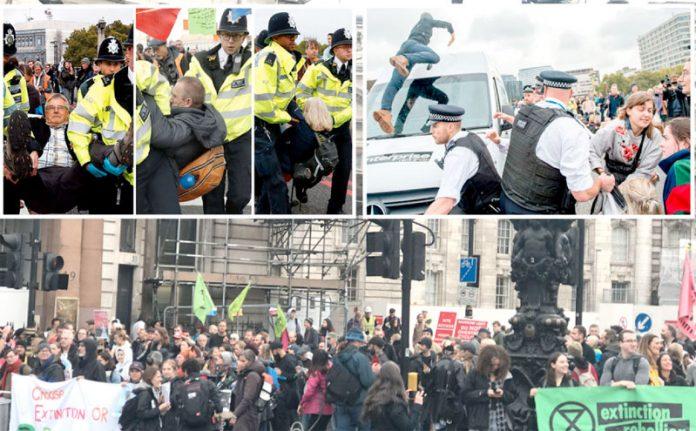 لندن: برطانوی پولیس ماحولیاتی تبدیلیوں کے خلاف احتجاج کرنے والوں کو حراست میں لے رہی ہے