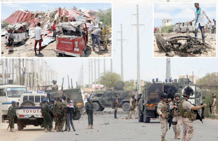 موغادیشو: کار بم حملے کے بعد یورپی افواج نے جائے وقوع کو گھیر رکھا ہے' کارروائی میںعمارت تباہ ہوگئی ہے