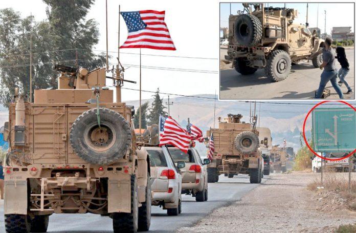 شام: مقامی کرد قامشلی شہر سے گزرنے والی امریکی فوج پر پتھراؤ کررہے ہیں