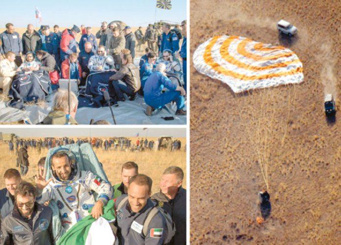 قزاقستان: خلائی مرکز سے آنے والی شٹل زمین پر پہنچ گئی ہے' خلابازوں کو منتقل کیا جارہا ہے
