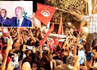 تیونس: منتخب صدر پروفیسر قیس سعید اپنے حامیوں کے ساتھ کامیابی کا جشن منا رہے ہیں