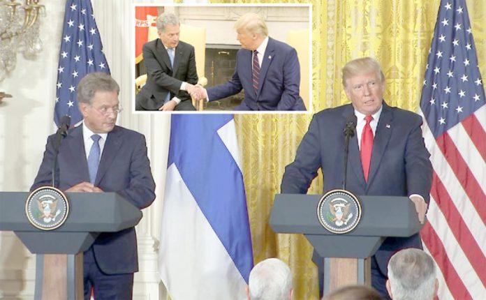واشنگٹن: امریکی صدر ڈونلڈ ڑٹرمپ اپنے فنش ہم منصب ساؤلی نینسٹوکے ساتھ ملاقات میں یوکرائن اسکینڈل پر گفتگو کررہے ہیں
