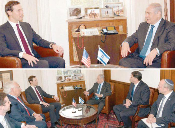 مقبوضہ بیت المقدس: امریکی صدر ٹرمپ کے داماد اور معاون جیرڈ کشنر اسرائیلی وزیر اعظم سے ملاقات کررہے ہیں