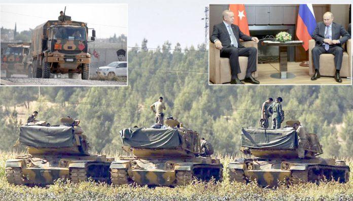 انقرہ/ ماسکو: تُرک فوج عارضی جنگ بندی کی مہلت ختم ہونے سے قبل سرحد پر تیار کھڑی ہے' صدر رجب طیب اردوان اپنے روسی ہم منصب ولادیمیر پیوٹن کے ساتھ تبادلہ خیال کررہے ہیں