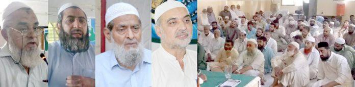 امیر جماعت اسلامی کراچی حافظ نعیم الرحمن،عبدالجمیل خان،مولانا عطاالرحمن،اجمل وحید اجتماع ارکان سے خطاب کر رہے ہیں