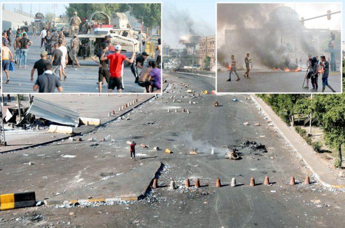 عراق: کرفیو کے باوجود حکومت مخالف احتجاج کے دوران سڑکیں میدان جنگ بنی ہوئی ہیں