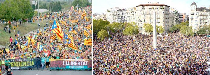بارسلونا: اسپین کی علاحدگی پسند ریاست کاتالونیا کے مختلف شہروں سے آزادی مارچ کے قافلے دارالحکومت پہنچ گئے ہیں