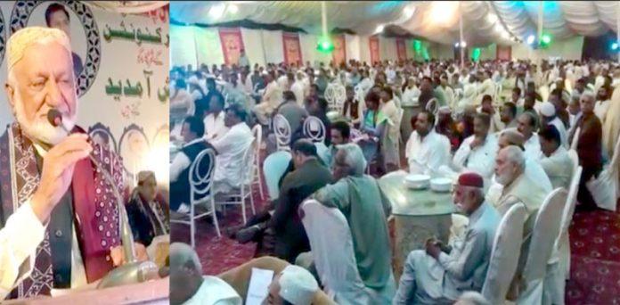 نوابشاہ : آل پاکستان تاجر کنونشن سے صدر محمد اجمل بلوچ خطاب کررہے ہیں