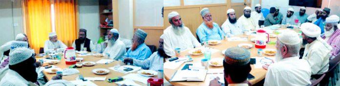 کراچی: امیر جماعت اسلامی سندھ محمد حسین محنتی قبا آڈیٹوریم میں مدارس کے مہتممین کے اجلاس سے خطاب کررہے ہیں