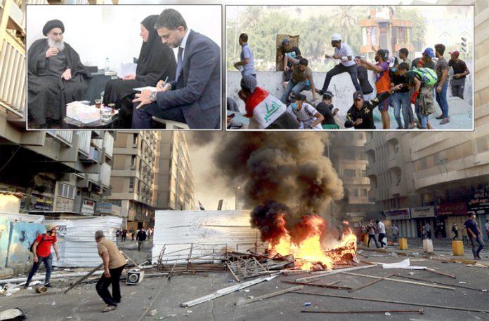 بغداد: مظاہرین نے آگ لگا کر سڑکیں بند کررکھی ہیں' نوجوان گولیوں سے بچنے کی کوشش کررہے ہیں' عالمی نمایندہ جینی ہینس عراقی رہنما سیستانی سے ملاقات کررہی ہیں