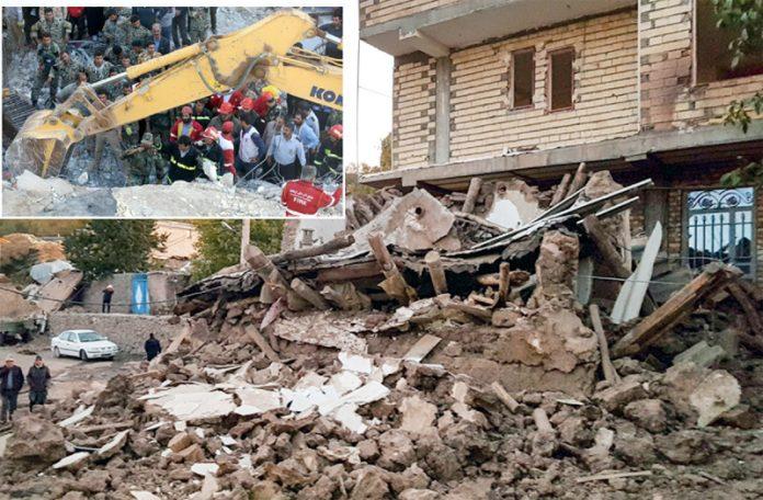 ایران: طاقت ور زلزلے کے باعث مکانات گرگئے ہیں' فائربریگیڈ اور دیگر ادارے امدادی کارروائیاں کررہے ہیں