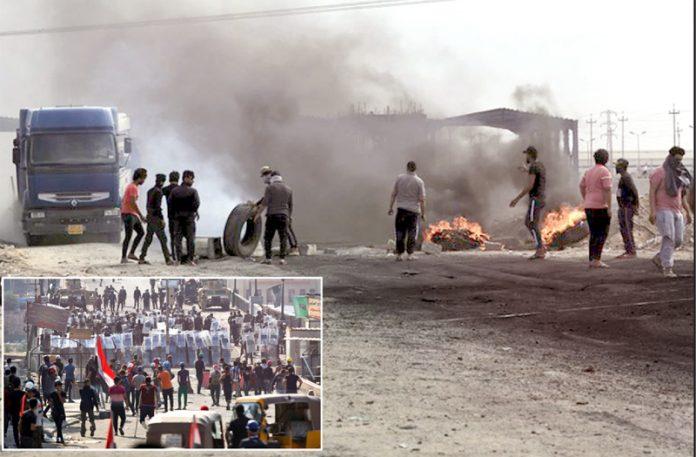 عراق: بصرہ میں مظاہرین نے آگ لگا کر قومی شاہراہ بند کررکھی ہے' بغداد میں نوجوان سینہ تان کر فوج کے سامنے کھڑے ہیں