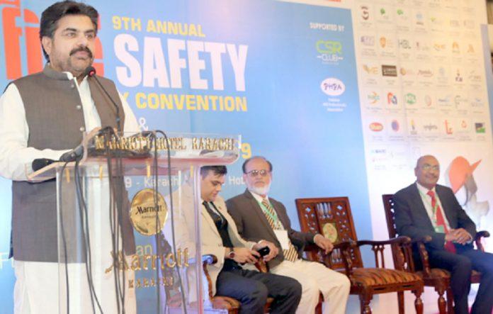 صوبائی وزیر بلدیات سید ناصر حسین شاہ نویں فائر سیفٹی کانفرنس اور ایوارڈ کی تقریب سے خطاب کر رہے ہیں